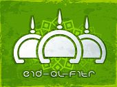 Poster, banner or flyer with creative mosque design on floral decorated grungy green background for celebration of Muslim community festival Eid- Al-Fitr.