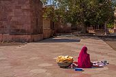 Anonymous Indian Woman Selling Small Eats Mandore Rajasthan India