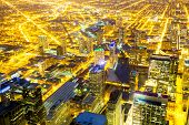 stock photo of willy  - Aerial view of Chicago City downtown at night - JPG