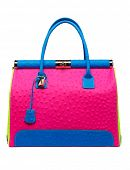 Bright neon pink and blue bag with gold lock and ostrich texture leather isolated on white backgroun