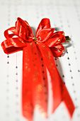 Decoration Red Glossy Ribbon Bow On Ribbon Print Word Valentine