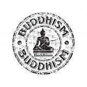 Buddhism grunge rubber stamp