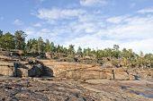 Coast and coastline at UNESCO High Coast Heritage, Sweden.