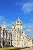 LISBON, PORTUGAL - SEPTEMBER 28, 2011: The main attraction of Lisbon - Jeronimos monastery on the ba