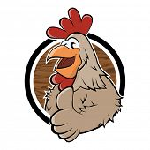 funny cartoon chicken in a badge