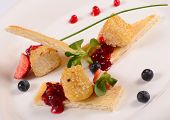 Cheese In Breadcrumbs With Currant Jam