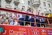 MOSCOW, RUSSIA - May 27, 2014: Championship parade Russian ice hockey team in Moscow. Winners Ice Hockey World Championships 2014.