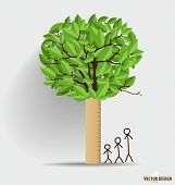 Ruler with leaf. Height scale, measuring children's growth. Vector illustration.