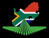 Arrow of people with South Africa map flag illustration