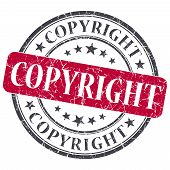 Copyright Red Round Grungy Stamp Isolated On White Background