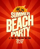 Summer beach party typographical poster. Eps10