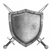 image of crossed swords  - medieval metal knight shield with crossed swords isolated on white - JPG