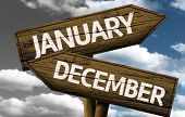 Time concept on wooden sign, January x December