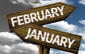 Time concept on wooden sign, February x January