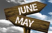 Time concept on wooden sign, June x May