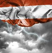 Austria waving flag on a bad day