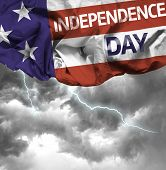 USA Independence Day waving flag