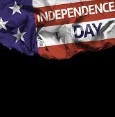 USA Independence Day waving flag isolated on black background
