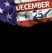 USA December 25, comemorative flag on black background