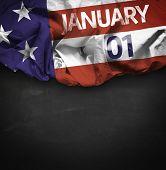 USA January, 01 comemorative flag on blackboard background