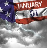 USA January, 01 comemorative flag