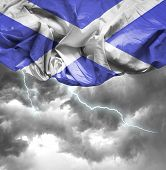 Scotland waving flag on a bad day