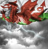 Wales waving flag on a bad day