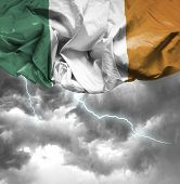 Ireland waving flag on a bad day