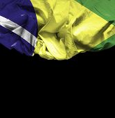 Brazil waving flag on black background