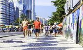 RIO DE JANEIRO, BRAZIL - CIRCA NOV 2013: People walking in Copacabana in Rio de Janeiro, Brazil.