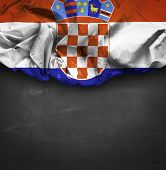 Croatia waving flag on blackboard