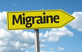 Migraine creative sign on a beautiful day