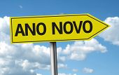 New Year (Portuguese: Ano Novo) creative sign on a beautiful day