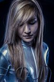 Blonde.Fiber Optic concept, woman with modern lights