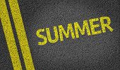 Summer written on the road