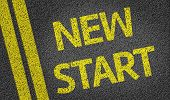 New Start written on the road