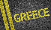 Greece written on the road