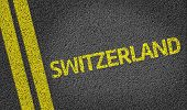 Switzerland written on the road