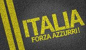 Italia, Forza Azzurri! written on the road (in italian)