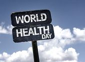 World Health Day sign with clouds and sky background