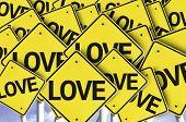 Love written on multiple road sign