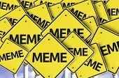Meme written on multiple road sign