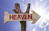 Heaven wooden sign on a beautiful day