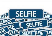 Selfie written on multiple blue road sign