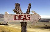 Ideas wooden sign isolated on desert background