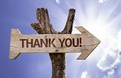 Thank You! wooden sign on a beautiful day