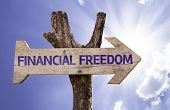 Financial Freedom wooden sign on a beautiful day