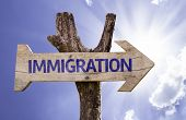 Immigration wooden sign on a beautiful day