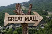Great Wall written on wooden sign with a Great Wall background