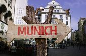 Munich wooden sign with a square on background